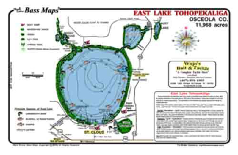 The East Toho Bass map is the most detailed Topo/Fishing map available. Bass fishing features include, vegetation, dredge holes, and seasonal bass catching tips all in a easy to read waterproof format.