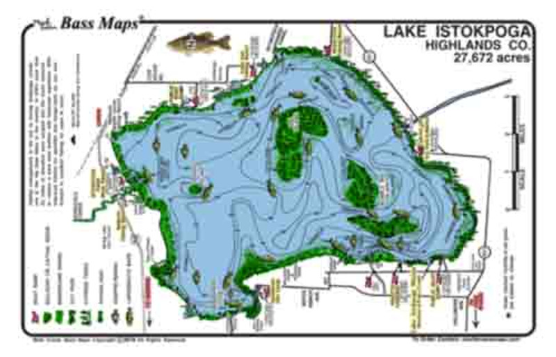 The lake Istokpoga Bass map is the most detailed topo / fishing map available.  Bass fishing features include areas of hydrilla,  bullrush and cattail reeds, lily pads, and cypress trees. The best Bass fishing  areas are marked in an easy to read waterproof  format.