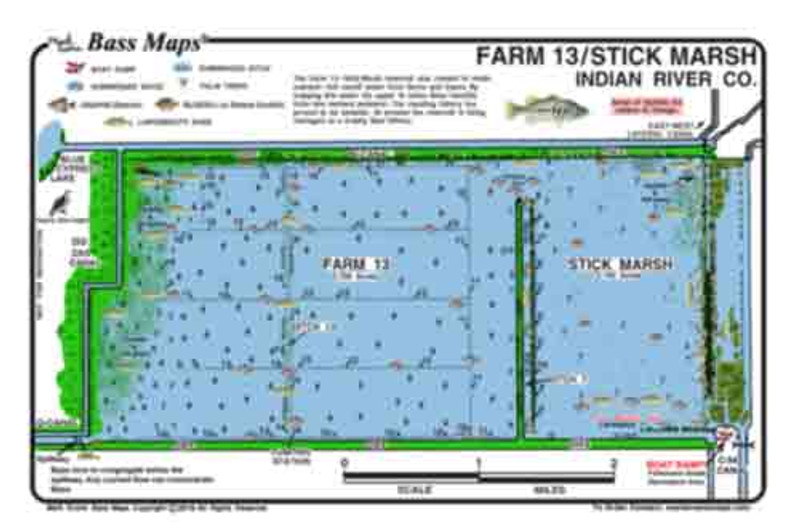 The only depth / fishing map for Stickmarsh / Farm 13 showing marked areas for the best Bass and Crappie fishing. Other features include vegetation, ditches, wood, hydrilla, and palm trees. All in an easy to read waterproof format.