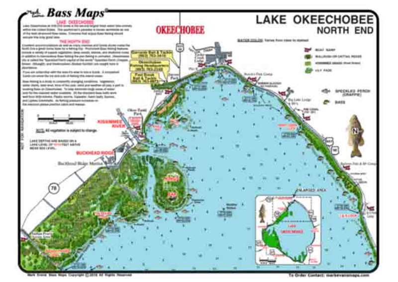 The Bass map topo/Fishing map is the most detailed map available on Lake Okeechobee.  Vegetation - Hydrilla, reeds, pads,eel grass all are marked on the map along with best fishing areas on  waterproof plastic.