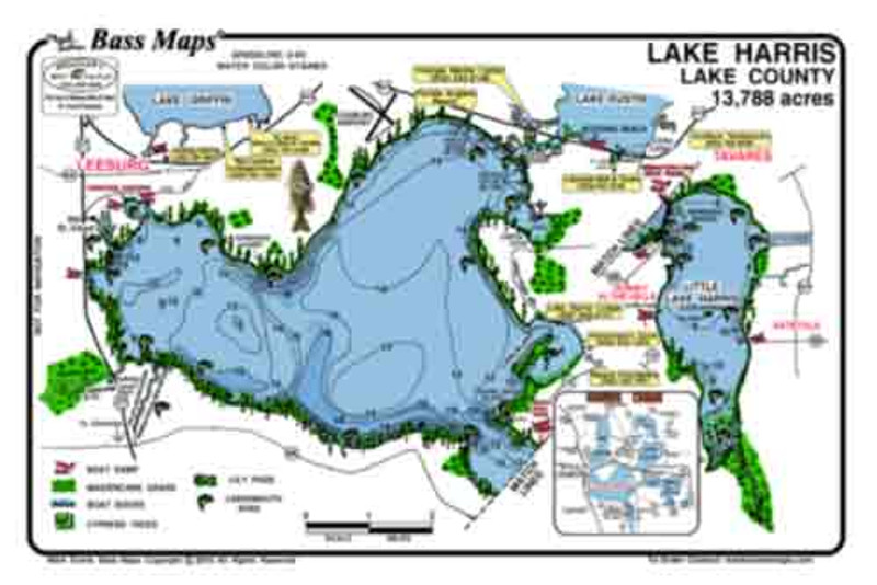 The Harris/Griffin Bass map is the most detailed topo/fishing map available. Fish catching features include hydrilla, peppergrass, dredge holes, cypress trees,  and docks. Best Bass and Crappie spots are marked. Maps are easy to read and waterproof.