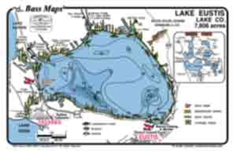 The Eustis/Dora Bass map is the most detailed topo/ fishing map available for these lakes.  Included are fishy features like, dredge holes, hydrilla, Kissimmee grass, reeds and boat docks. Best Bass and Crappie spots are marked in a  waterproof and easy to read format.