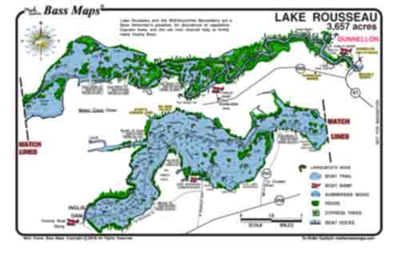 The lake Rousseau / Withlacoochee River map is a detailed depth / fishing map showing the Bass rich vegetation, cypress trees and the old river channal  that harbours many trophy Bass. The best Bass fishing areas are marked in an easy to read waterproof format.