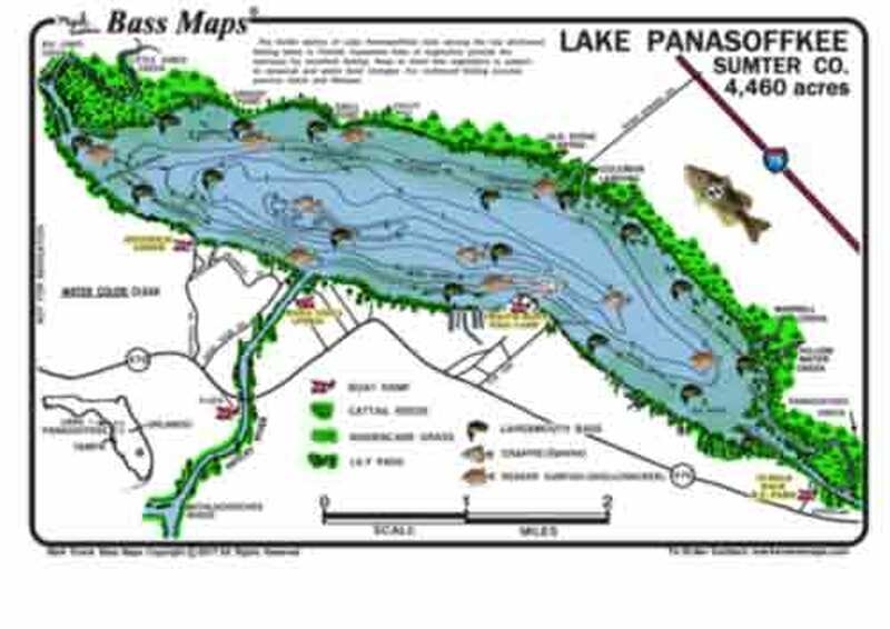 The Lake Panasoffkee Bass map is the most detailed depth / fishing map available. Bass catching vegetation like hydrilla, eelgrass, peppergrass, cattail reeds, kissimmee grass, and lily pads are  included.  Best fishing areas are marked in an easy to read waterproof format.