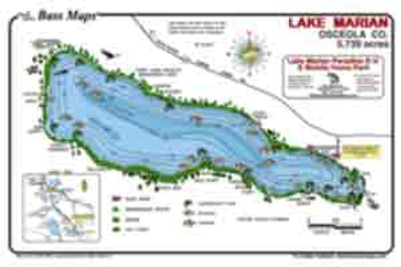 The lake Marion map is the most detailed depth / fishing map available. Bass fishing features  include reeds, Kissimmee grass and lily pads. Best Bass, Bluegill, and Crappie spots are marked on an easy to read waterproof format.