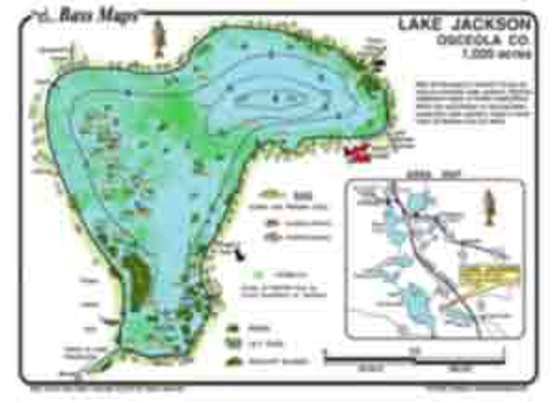 The lake Jackson Bass map is the most detailed depth / Fishing map available. Bass fishing features include hydrilla, Kissimmee grass,  reeds, and lily pads. Bass, bluegill, and Crappie spots are marked in an easy to read waterproof  format.