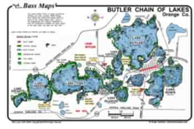 The Butler Chain Bass  map is the most detailed  depth / fishing map available. The best Bass fishing spots are marked along with dredge holes, docks, and Bass holding vegetation  all in an easy to read waterproof format.