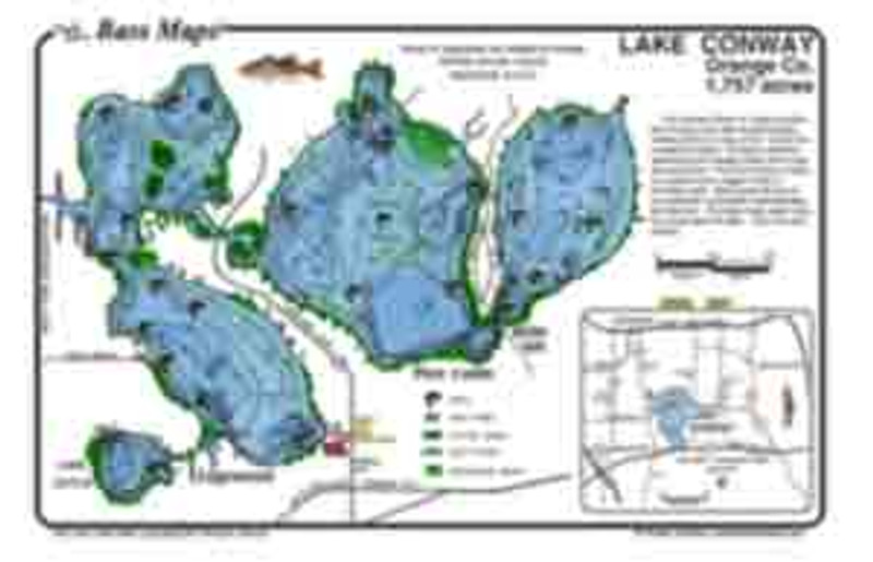 The Conway Chain  Bass map is the most detailed depth / fishing map available. Bass fishing features include dredge holes and boat docks along with Bass holding  vegetation,  in an easy to read waterproof format.