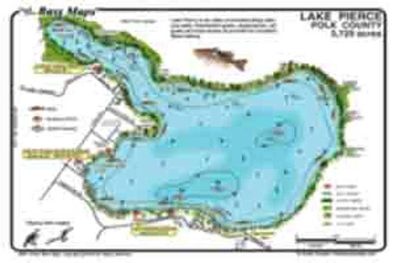 The Pierce / Marion Bass map is the most detailed depth / fishing map available. Best Bass and Crappie spots are marked along with fish attractors and fish holding vegetation. Maps are waterproof and easy to read.