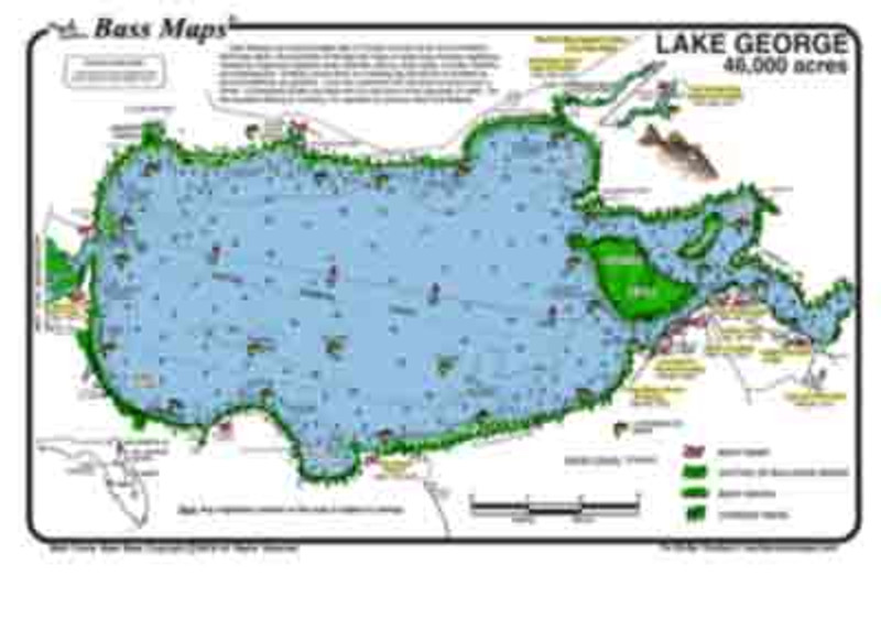 The Lake George Bass map is the most detailed depth / fishing map available. The best Bass fishing areas are marked along with  types of superb vegetaion like  expansive eelgrass beds, hydrilla, reeds, cypress trees and boat docks. All in a waterproof easy to read format.