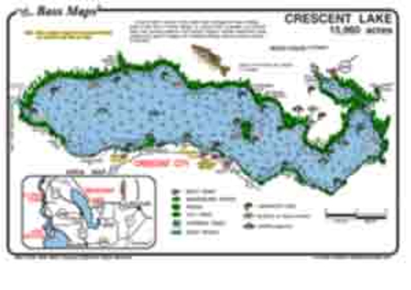The Crescent lake Bass map is the most detailed depth / fishing map available.  The best Bass, Crappie and Bluegill areas are marked including  the types of vegetation all in an easy to read waterproof format.