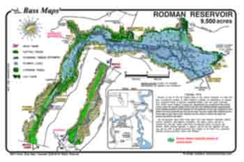 The Rodman Reservoir Bass map is the most detailed depth / fishing map available. Bass fishing features include the old Oklawaha river channel, standing timber, lily pads, reeds, and where hydrilla typically comes back. Maps are waterproof and easy to read.