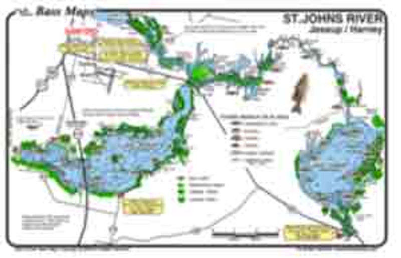 The Lake Jessup / Lake Harney (2 - sided) map is the most detailed depth / fishing map available. The best Bass, Bluegill and Crappie spots are marked along with deep channels, eelgrass, reeds, and shellbeds all in an easy to read waterproof format.