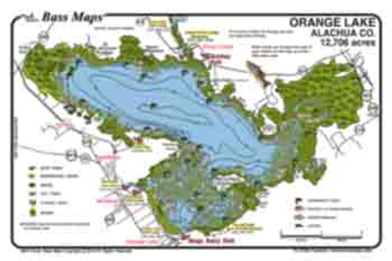 The  Orange / Lochloosa (2-sided)  Bass Map is the most detailed depth / fishing map available. Best Bass, Crappie and Bluegill areas are marked along  with the superb Bassy vegetation in an easy to read waterproof format.