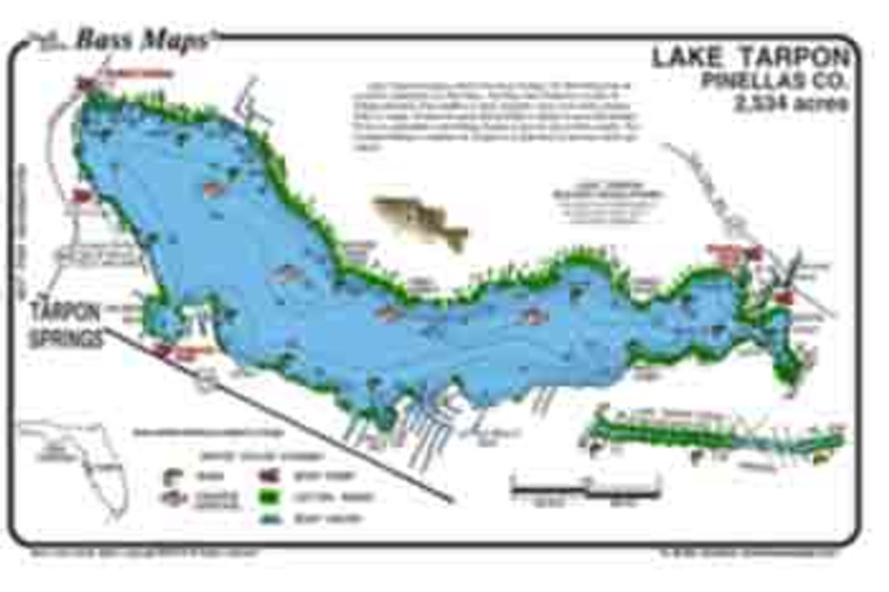 The Tarpon lake Bass map is the most detailed depth / fishing map available.  The best Bass and Crappie spots are marked along with boat docks, cypress trees and Bass holding vegetation all in an easy to read waterproof format.
