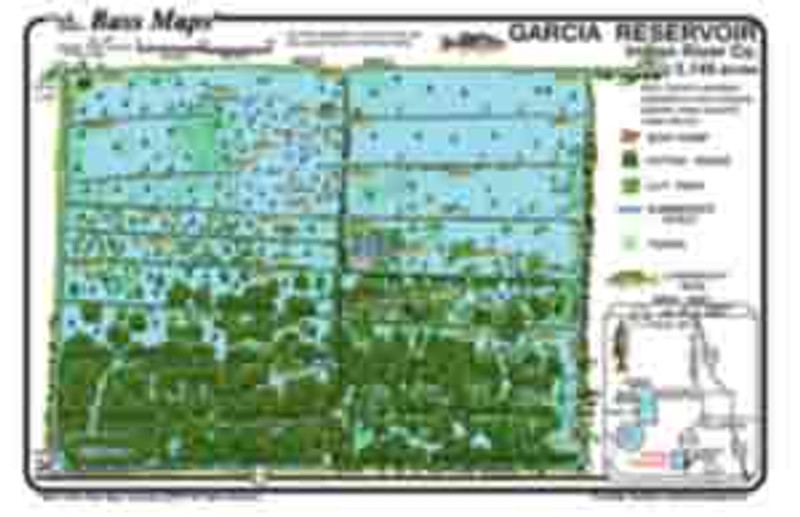The Garcia Reservoir Bass Map is the most detailed depth / fishing map available.  The best Bass fishing areas are marked along with the superb  Bassy  vegetation all in an easy to read waterproof format.
