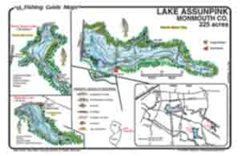 Mark Evans Maps offer a detailed fishing maps of Lake Assunpink, Stone Tavern Lake, and Rising Sun Lake located in the Assunpink Wildlife Management Area. These lakes are managed for Largemouth Bass, however, Channel Catfish are in abundance here, too. The best fishing spots and depths are marked.  Fishing features include cattail reeds, milfoil (submerged green weeds), old creek channel, and old road beds.  The Maps are waterproof and easy to read.
