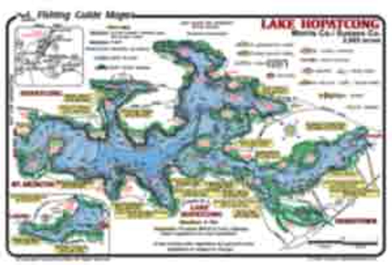 Mark Evans Maps offer a detailed  fishing map of Lake Hopatcong.  Lake bottom depths are noted.  The best fishing  spots are marked.  Fish catching features include weed beds, rocks, boat docks, and drop-off contours.  Maps are colorful, easy to read and waterproof.