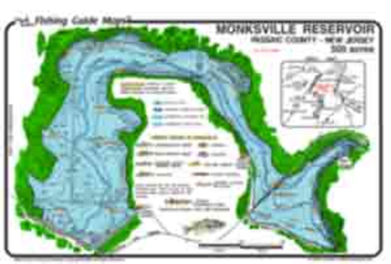 This colorful, waterproof, easy to read map  shows best fishing spots,  contours, structures and submerged road beds, as well as the dam and the Wanaque River Channel.