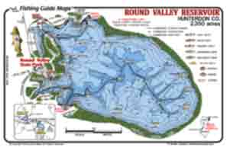 This colorful, detailed, waterproof fishing map  of Round Valley Reservoir map shows recommended fishing areas.  Other features on the map include labeled areas of submerged road beds and foundations,  springs and stream channels.  Also shown is the Round Valley State Park  and  boat ramps.