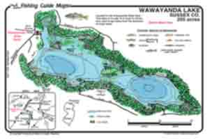 This map is colorful, waterproof, and easy to read. It displays submerged features like weed beds, rocks, contours, as well as  lily pads.  Best fishing spots are marked.