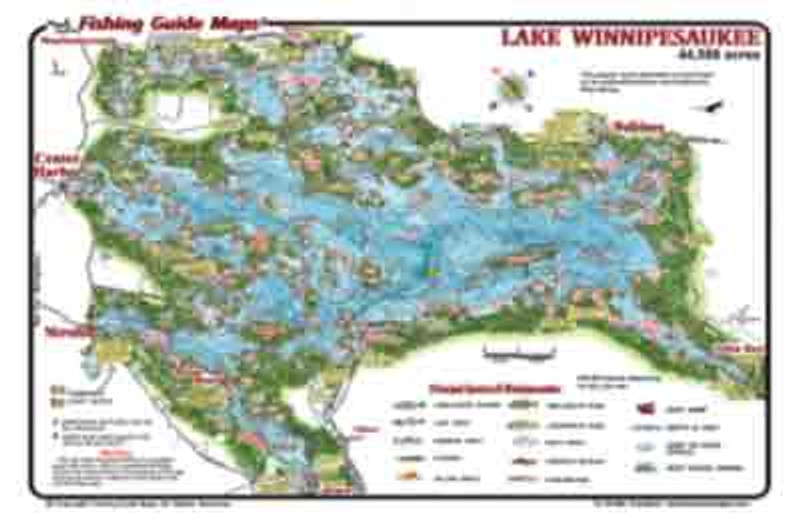 This detailed map shows the entire Lake Winnepesaukee on one image.  Islands ,coves, bays, shoals and launch ramps are represented.