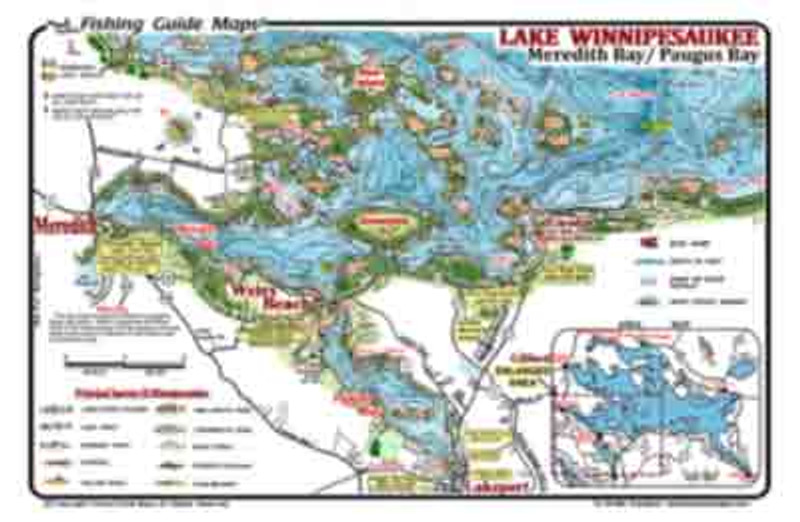 This is a waterproof  2-sided fishing  map of  Meredith Bay and Paugus Bay on one side and Wolfeboro and Alton Bay areas of Lake Winnipesaukee, NH. on the other side .