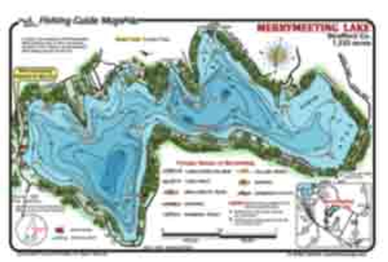 This colorful, waterproof , detailed  contour fishing map for Merrymeeting Lake, NH.   The map indicates boat ramps on  crystal clear water for a multi-species fishing experience.