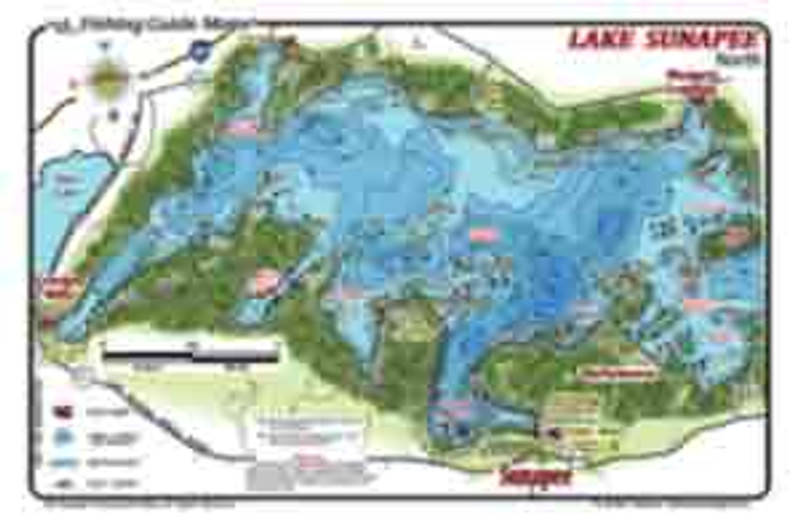 This detailed, 2-sided waterproof map shows north and south ends of Sunapee. The gamefish  are shown on the map as well as environmental structures,  depths, and launch ramps.  Wall map shows entire Lake Sunapee on one side.