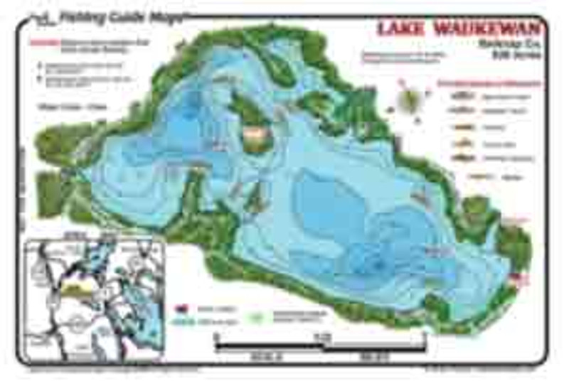 A detailed waterproof fishing map of  the clear  water of Lake Waukewan displays info much needed for fishing  this beautiful little NH lake.