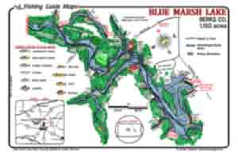 Mark Evans Fishing Guide Maps offer a detailed fishing map for Beltzville Lake.  The best fishing spots are marked.  Fish catching features include submerged road beds, the old river channel, weed beds.  The maps are waterproof and easy to read.