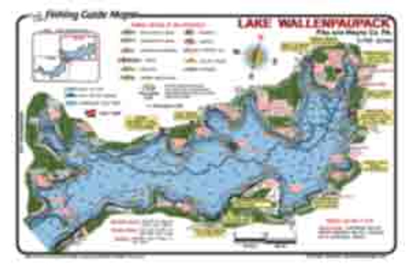Mark  Evans Fishing  Guide Maps offers a  detailed fishing map fro Lake Wallenpaupack.  Lake Wallenpaupack is one of  Pennsylvania's best fishing lakes.  A strong forage base (bait fish) provides  the food for many game fish species.  Best fishing spots are marked. Fish catching features include  showing the various sizes rocks (for small mouth bass), submerged road beds,  boat docks, old river channels and milfoil weeds.  Maps are waterproof and easy to read.