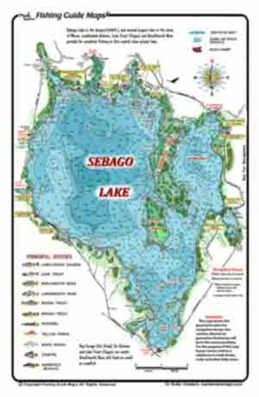 This is a single-sided waterproof , detailed, colorful map of Sebago Lake, Maine.  This map shows suggested fishing sites, islands , shoals, depths,  boat ramps .