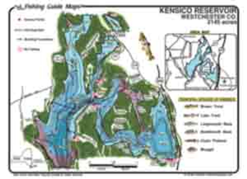 This is a waterproof fishing map for Kensico Reservoir, NY.  The colorful, easy to read map details make this map a must have for anglers.