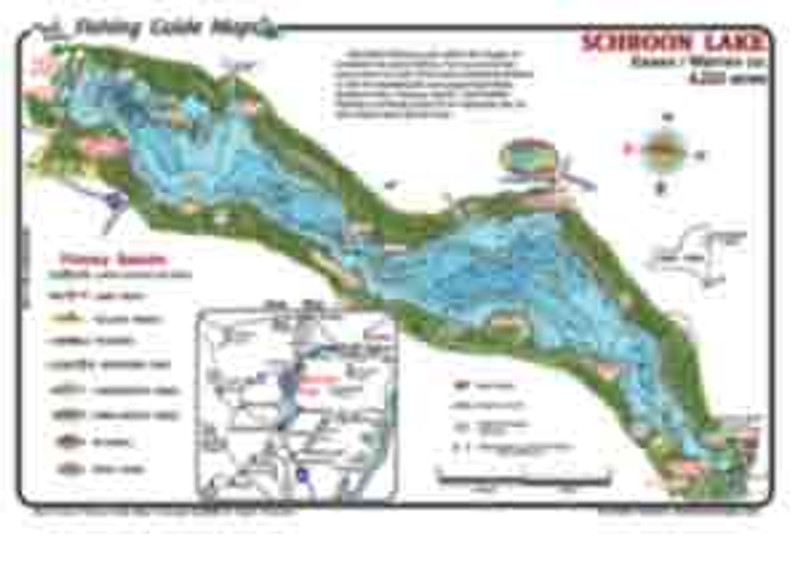 This is a colorful , waterproof, easy to read fishing map for Schroon Lake , NY.  This  must have fishing map   shows details that anglers need for a successful day on the water.