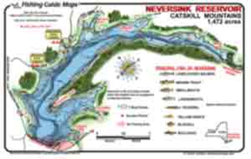 This colorful, waterproof fishing map of Neversink, Reservoir, New York provides the focal points an angler needs for a successful experience on Neversink.