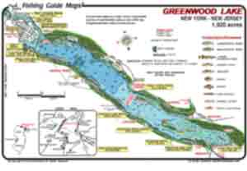 This colorful, detailed fishing map shows Greenwood Lake  located on the borders of New Jersey and New York. Fish catching symbols include  weed beds, boat docks, rocks, and drop-off contours.  Maps are waterproof and easy to read.