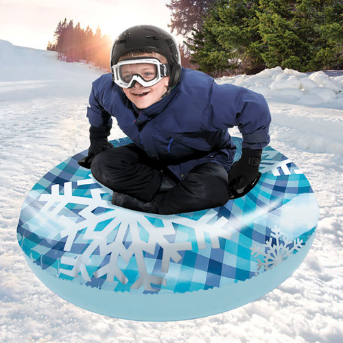 "Aqua Leisure 43"" Pipeline Sno Clear Top Racer Sno-Tube - Cool Blue Plaid [PST13365S2]"