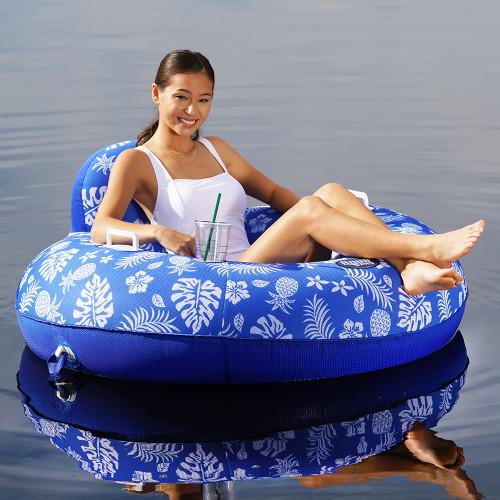 Aqua Leisure Supreme Lake Tube Hibiscus Pineapple Royal Blue w\/Docking Attachment [APL20458]