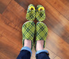 Green and gold Pioneer Plaid Bison Booties slippers are also available in baby and adult sizes: https://www.bisonbooties.com/search.php?Search=&search_query=pioneer