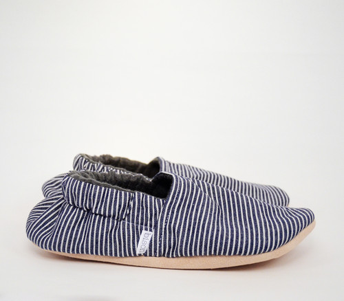 Denim Stripe Bison Booties Slippers