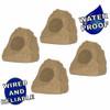 4R4S Outdoor Sandstone Rock 4 Speaker Set for Yard Patio Pool Spa