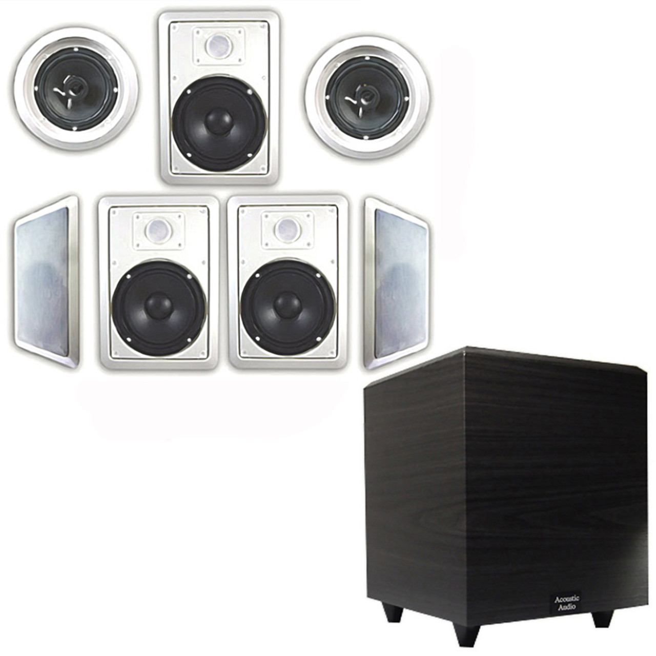 Acoustic Audio Ht 67 In Wall Ceiling 7 1 Home Theater 6 5 Speakers And 8 Powered Sub Ht 67 Ps8
