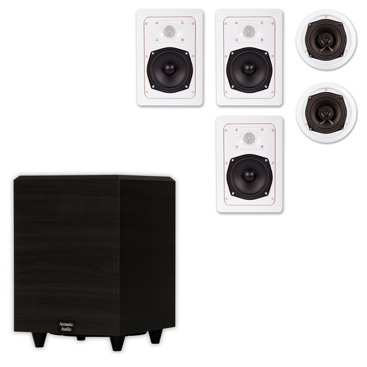 Acoustic Audio Ht 55 In Wall Ceiling 5 1 Home Theater Speakers And 8 Powered Sub Ht 55 Ps8