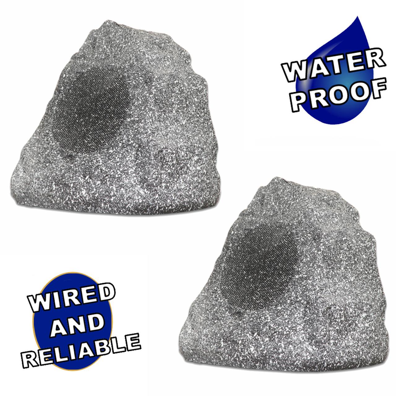 Theater Solutions 12R4G Outdoor Granite Rock 12 Speaker Set for Deck Pool Spa Patio Garden