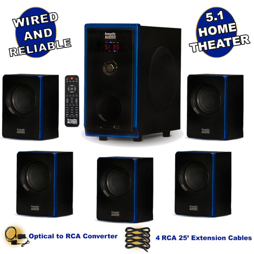 Acoustic Audio AA5102 Bluetooth 5.1 Speaker System with Optical Input and 4 Extension Cables