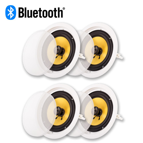 """Acoustic Audio HD-8 Bluetooth 8"""" In Ceiling Powered 4 Speakers Pack Flush Mount"""