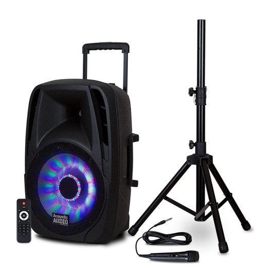 """BBQ151 Powered 1200W 15"""" Bluetooth 5.0 True Wireless Stereo (TWS) LED Speaker with Mic & Stand"""