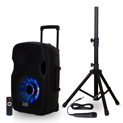"""BBQ152 Powered 1200W 15"""" Bluetooth 5.0 True Wireless Stereo (TWS) LED Speaker with Mic & Stand"""