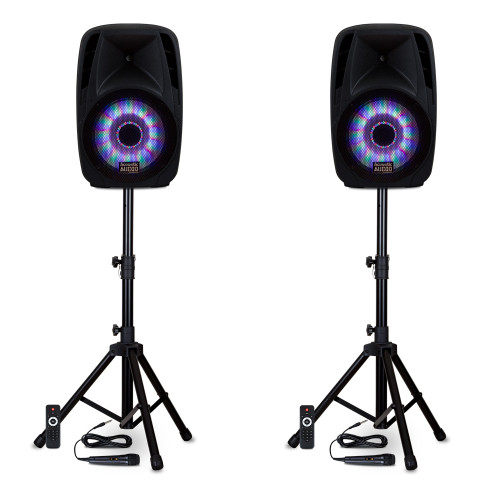 "BBQ151 Powered 15"" Bluetooth 5.0 True Wireless Stereo (TWS) LED Speakers with Mics & Stands"